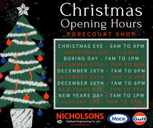stalhameng, nicholsons, christmas, festive, forecourt, garden machinery, norfolk, stalham